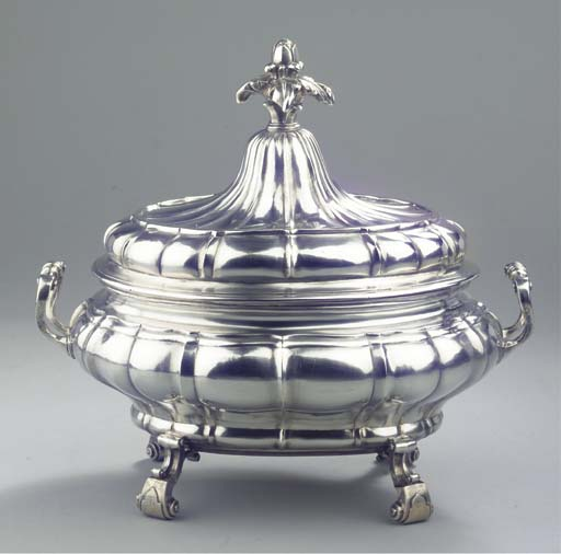 A large silver and parcel-gilt