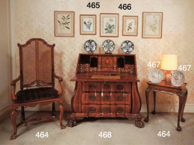 (4) A walnut highback armchair