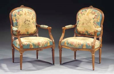 (2)  A pair of French beechwoo
