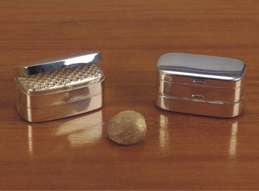 Two silver nutmeg-grators