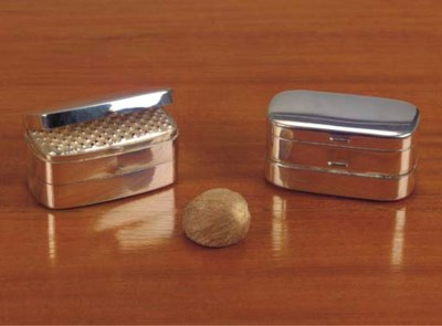 Two silver nutmeg-grators