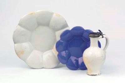 (3)  A white Delft lobed dish