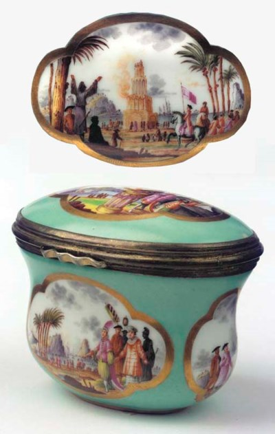 A Meissen porcelain gilt-metal