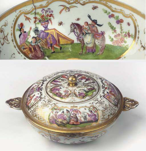 A Meissen porcelain Hausmalere