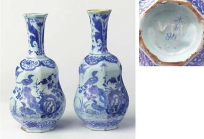 (2)  A pair of Dutch Delft blu