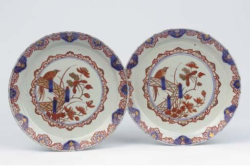 (2) A pair of Delft doré 'Imar