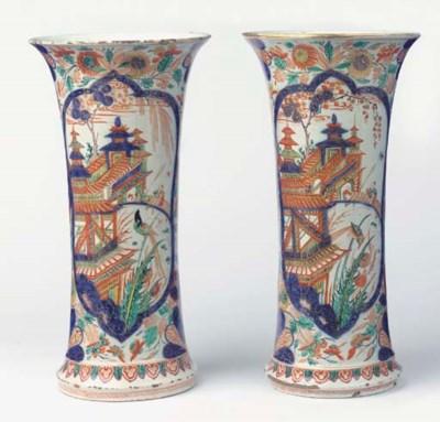 (2) A pair of large Delft doré