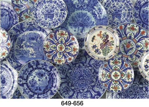 (3)  Three Dutch Delft blue an