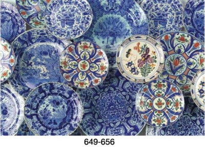 (3) Three Dutch Delft blue and