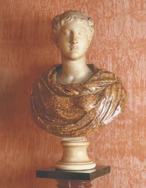 AN ITALIAN CARVED MARBLE BUST