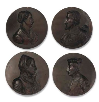 A SERIES OF FOUR BRONZE PROFIL