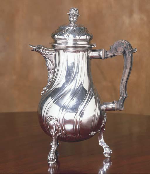 A BELGIAN SILVER COFFEE POT
