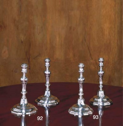 TWO BELGIAN SILVER CANDLESTICK