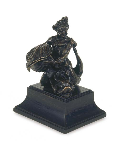 A BRONZE INKSTAND IN THE FORM