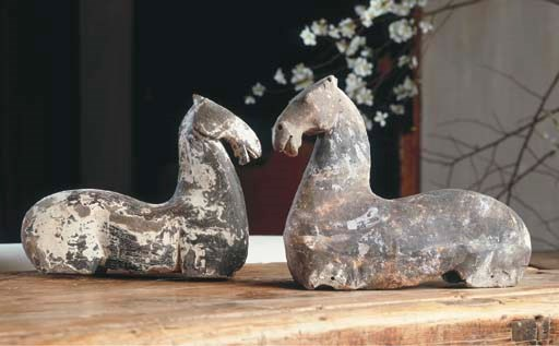 TWO GREY POTTERY MODELS OF TOR