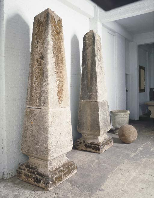 A PAIR OF MONUMENTAL STONE OBE