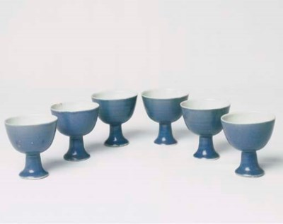 A SET OF SIX TRANSITIONAL BLUE