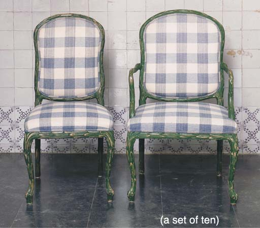 A SET OF TEN GREEN-PAINTED CHA