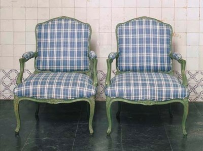 A PAIR OF GREEN-PAINTED FAUTEU