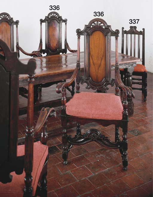 TWO ENGLISH OAK SIDE CHAIRS