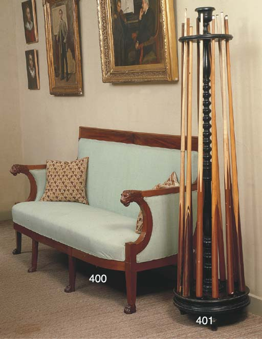 A FRENCH EBONISED CUE-STAND AN