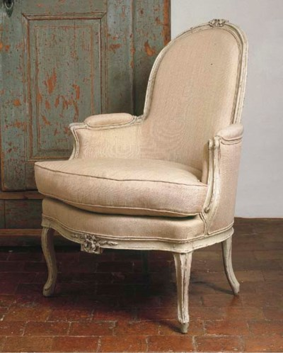 A LOUIS XV WHITE-PAINTED BERGE