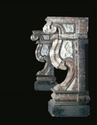 A PAIR OF FLEMISH MARBLE FIREP