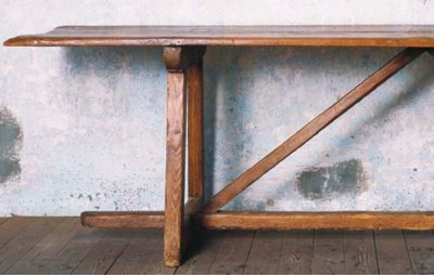 A FRENCH PINE REFECTORY TABLE