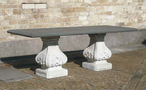A STONE AND MARBLE GARDEN TABL