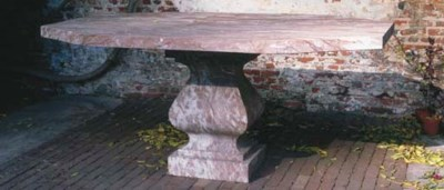 A BELGIAN RED MARBLE PEDESTAL