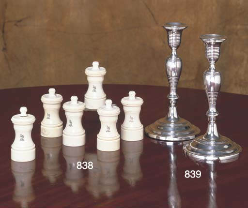 A GROUP OF SIX VICTORIAN IVORY