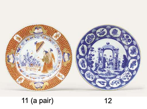 A BLUE AND WHITE 'ARBOUR' PLAT