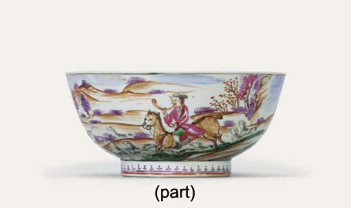 A FAMILLE ROSE 'HUNTING' BOWL;