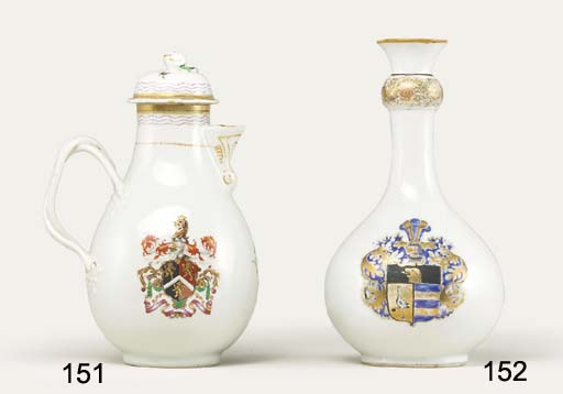A FAMILLE ROSE ARMORIAL JUG AN