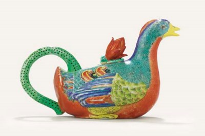 A RARE ENAMELLED EWER AND COVE