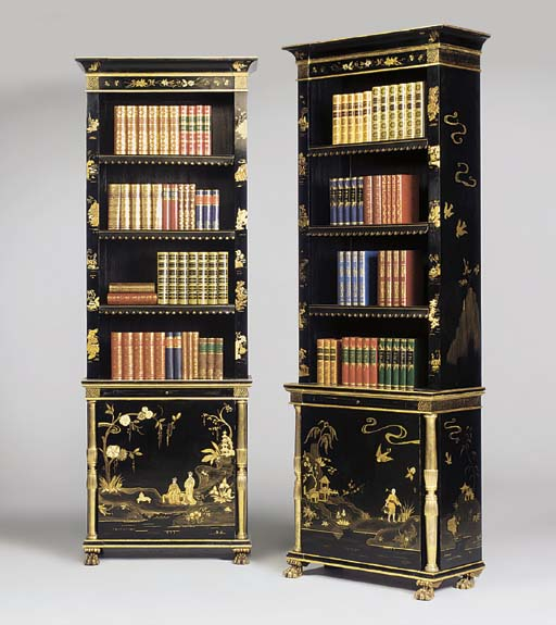 A PAIR OF CHINOISERIE BLACK AN