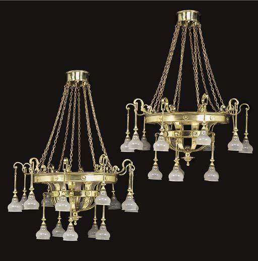 A pair of brass fifteen-light