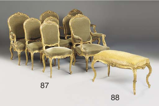 A Louis XV style giltwood stoo