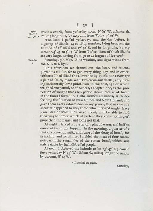 BLIGH, William (1754-1817). Vo