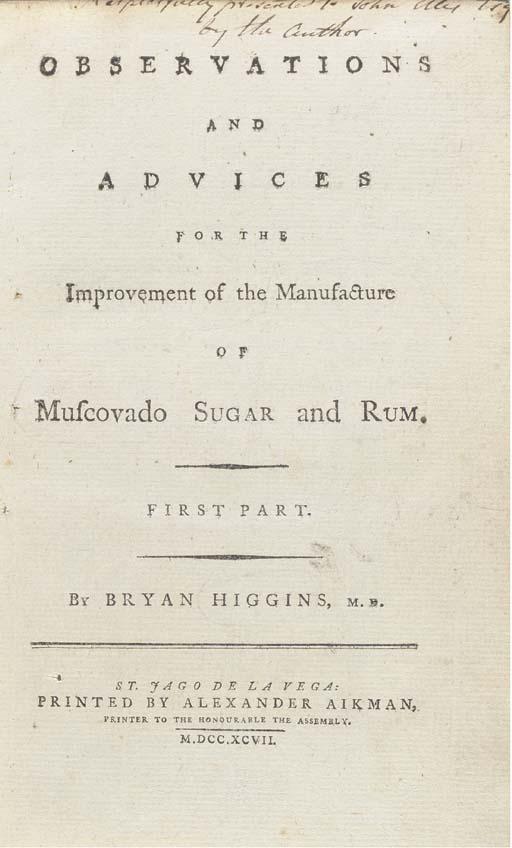 HIGGINS, Bryan (1741-1818). Ob