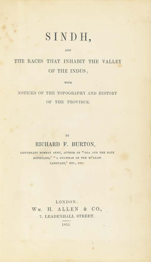 BURTON, Richard Francis. Sindh
