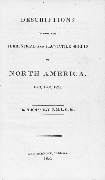 SAY, Thomas (1787-1834). Descr