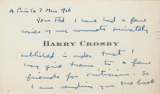 CROSBY, Harry. Sonnets for Car