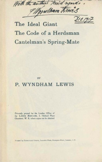LEWIS, Wyndham. The Ideal Gian