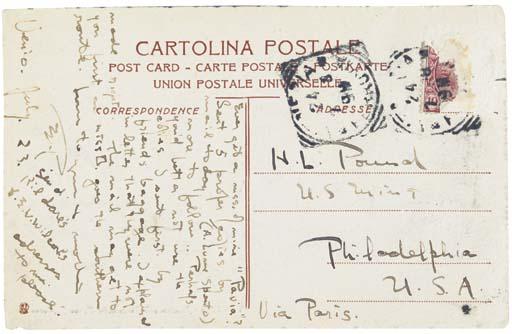 POUND, Ezra Loomis. Autograph