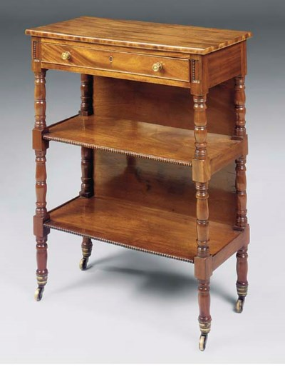 A MAHOGANY THREE-TIER ETAGERE