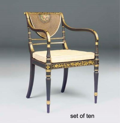 A SET OF TEN REGENCY BLACK AND