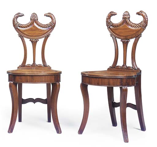 A PAIR OF REGENCY MAHOGANY HAL