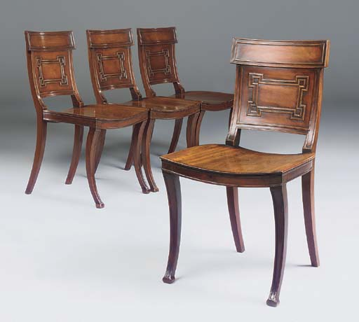 A SET OF FOUR REGENCY MAHOGANY
