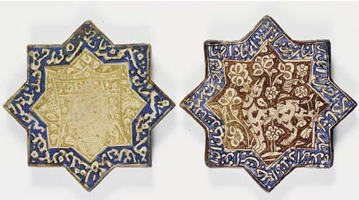 TWO ILKHANID COBALT AND LUSTRE STAR TILES